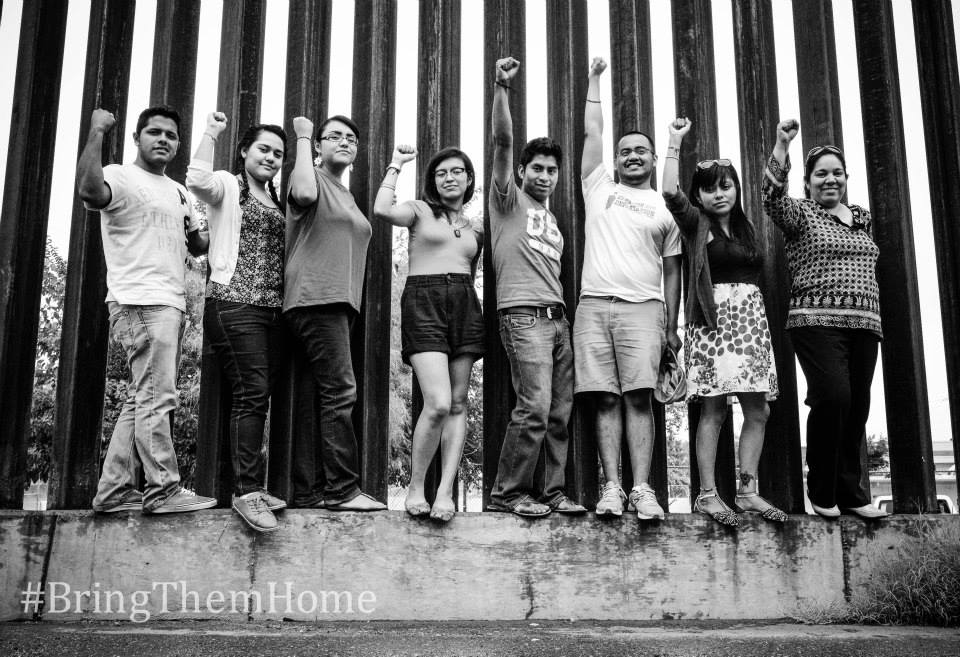 The Gang of 8 at the border wall in Arizona. Photo Courtesy: National Immigrant Youth Alliance