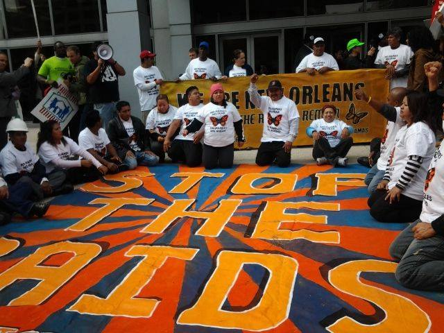 Congress of Day Laborers/Congreso de Jornaleros sitting-in at ICE to say #Not1More raid or deportation.